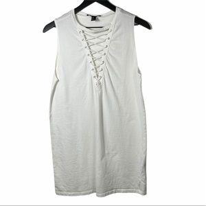Forever 21   White Sleeveless Tie V-Neck